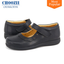 Guangzhou Manufacturer Primary Children Leather Girls School Shoes with Rubber Sole