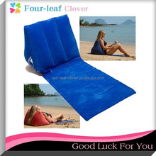 Blue Inflatable Wedge Pillow For Beach, Triangle Inflatable Back Support Pillow Flocking Back Cushions