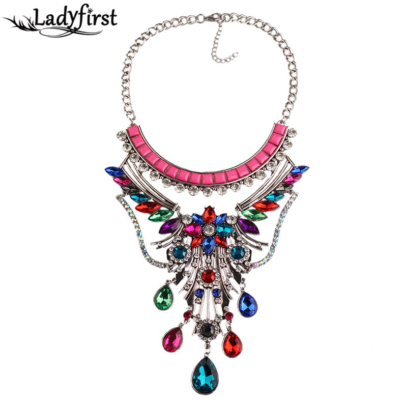 Ladyfirst New Arrival Fashion Flower Resin Luury Beads Crystal Colorful Statement Collier Femme Boho Mai Accessories 3585