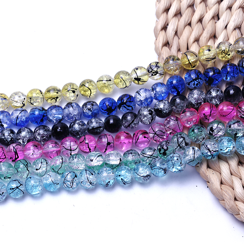 wholesale 200pcs 6mm glass Crackle Cracked Round Beads Two Tone  Crack Beads