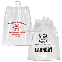 Clear custom degradable promotional drawstring plastic laundry bag