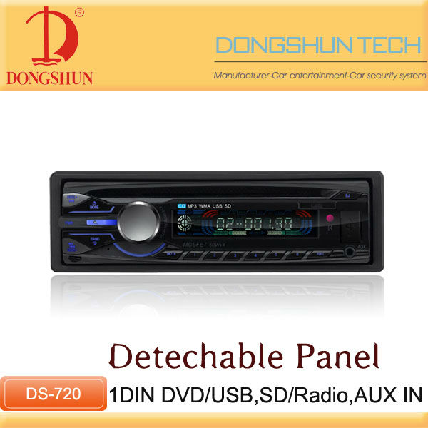 red light 1 DIN car dvd player with Detachable Panel / car audio player with USB/SD