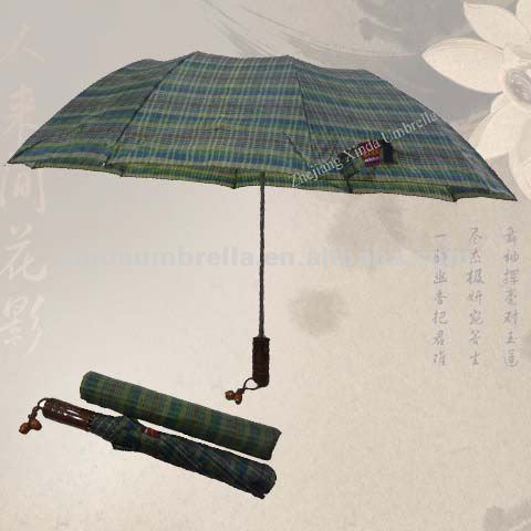 Promotionl Custom Mens Sport Travel Strong Auto 2 Fold Up Tartan Wooden Handle Umbrella
