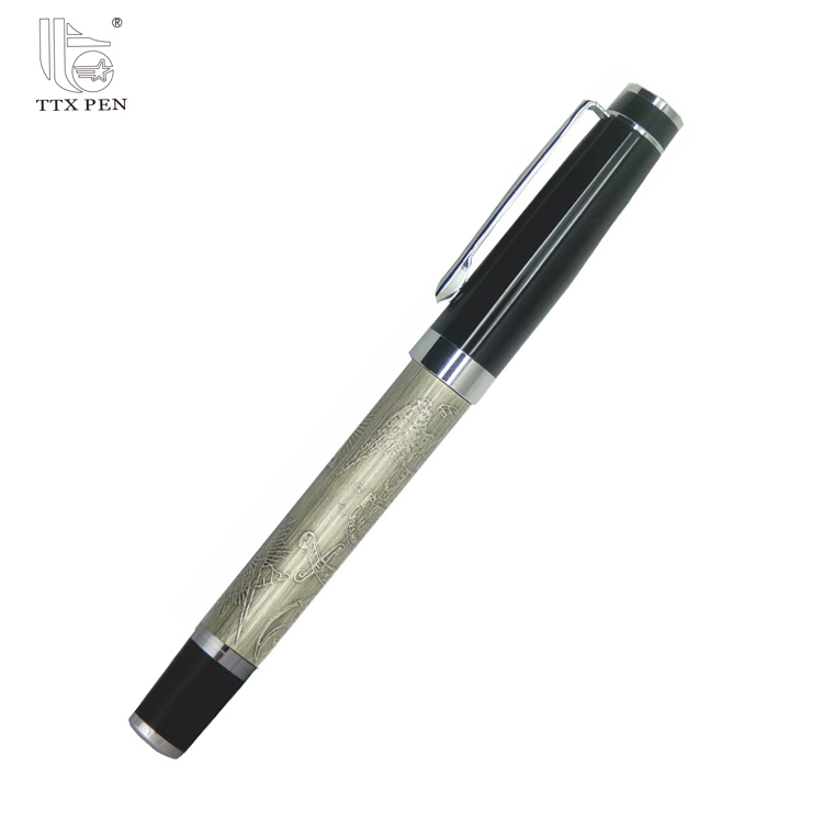 2018 black silver Logo printed World Map Aluminum Roller ball Pen