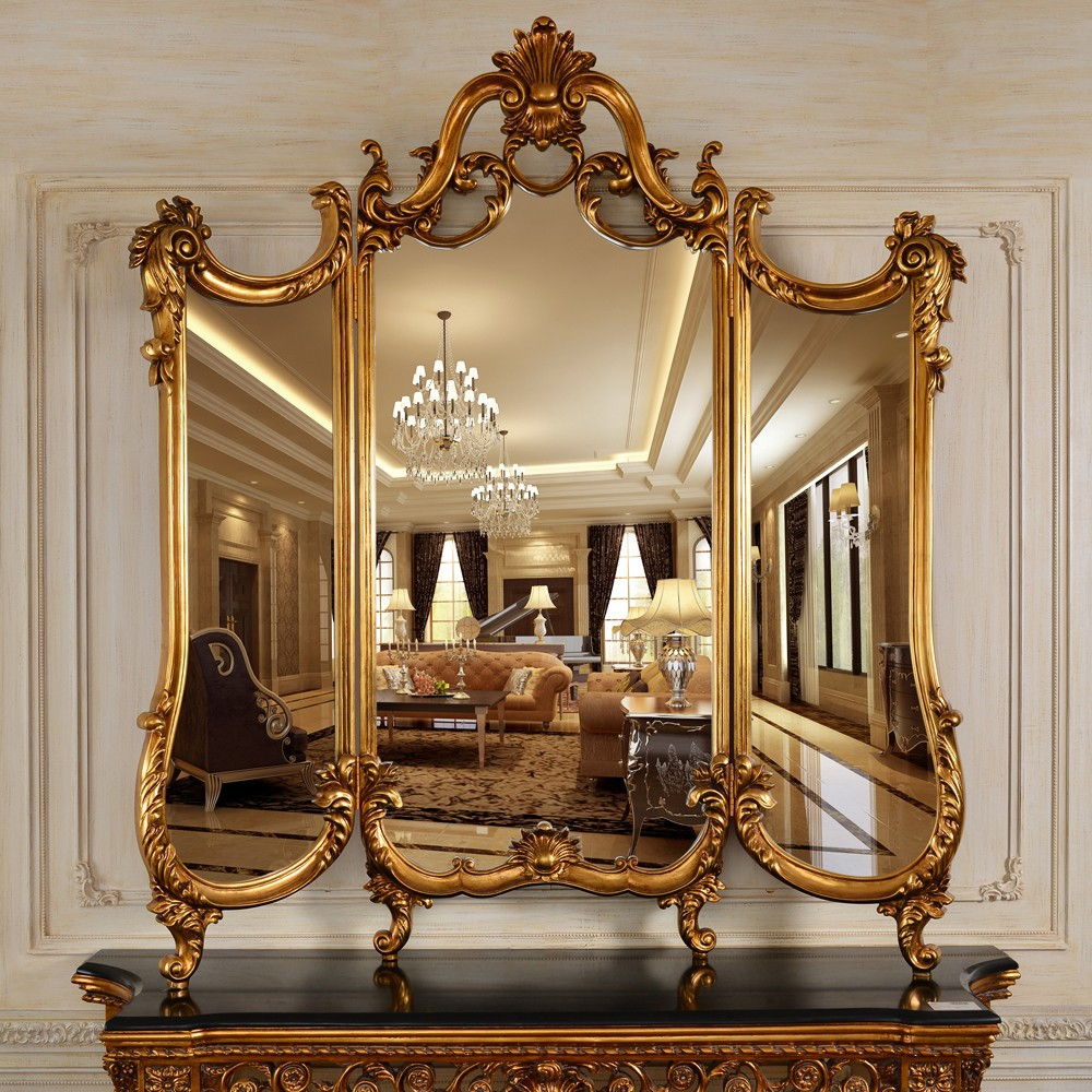 C246 antique style folding framed decorative wall mirror for Antique style wall mirror