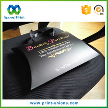 Custom size hair bundles packaging bag ribbon handles black paper pillow bag