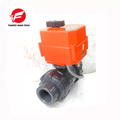 CTF-001 DN50 UPVC double union thread NPT DC12V CR01 electric plastic ball valve for waste water