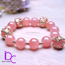 Natural Madagascar Pink Crystal Beaded Bracelet with S925 Silver