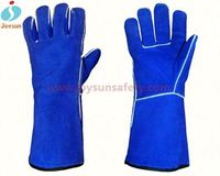 long welding leather gloves reinforced color change gloves