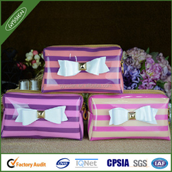 stripe handbag makeup bag with a belt
