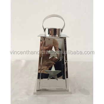Outdoor garden hanging metal stainless steel candle lantern with punched star decorative