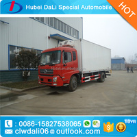red color DONGFENG 4*2 refrigerated cold room van truck for frozen meat transport