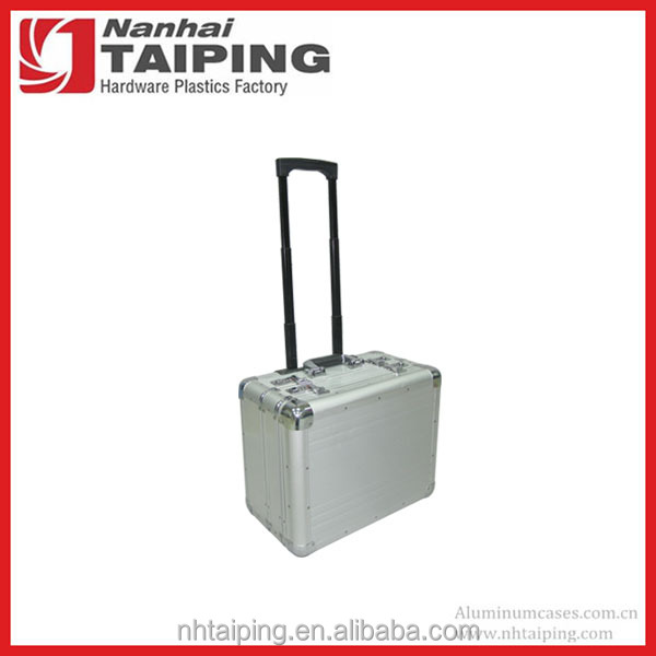 Silver Aluminum Briefcase with Wheels Trolley Briefcase Laptop Rolling Briefcase