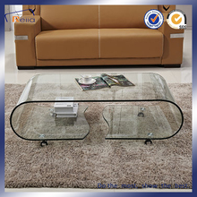 bent glass coffee table with wheels tea table furniture