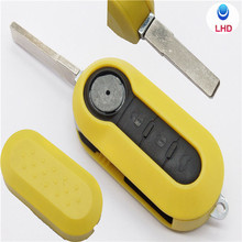 Top quality Fiat 3 button flip remote key shell for Flip key car alarm in yellow