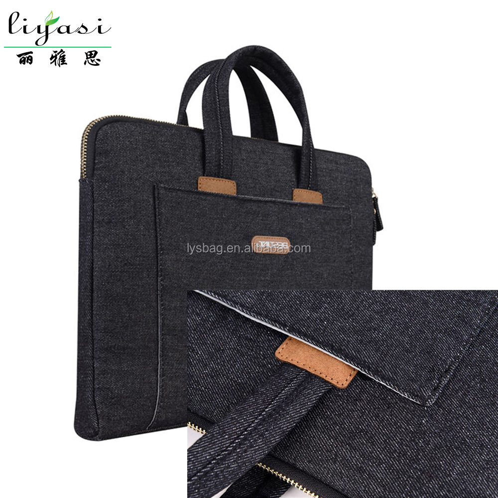 Black 14 Inch Business Laptop Bag with Adjustable Long Shoulder