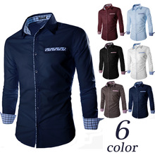 Discount walson 100% cotton fabric contrast color men trendy dress shirt
