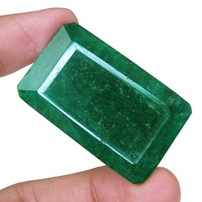 103.25 Ct NATURAL FINEST RARE UNIQUE GREEN EMERALD FACETED RECTANGLE 7287