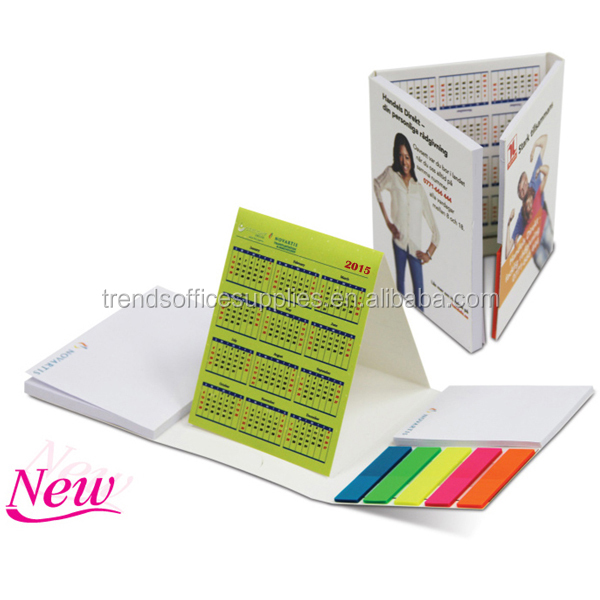 plastic desk calendar with notepad