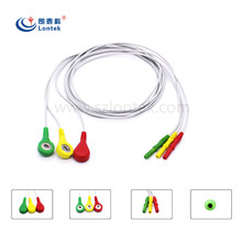 Patient Monitor ECG/EKG Cable Snap 3 Lead IEC ecg wire for Creative Datascope Nihon Kohden AIR SHIELDS