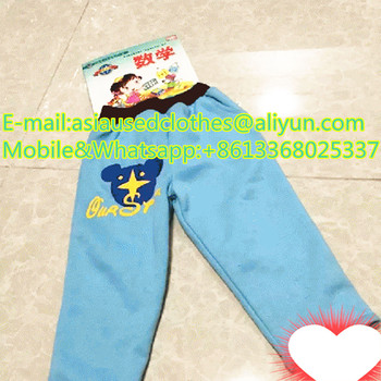 Children cotton long pants mixed brand used in bale sale for africa