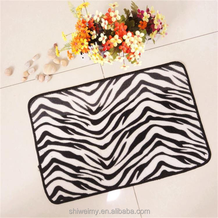 Nature animal zebra-stripe non slip printed nylon door mat