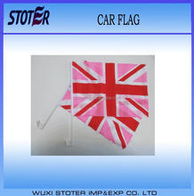 Pink union jack UK British Car Flag,