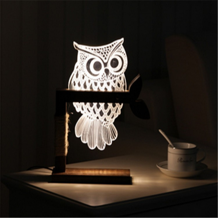2017new design modern 3d wood led table lamp for Luxury Hotel Decoration desk light smart lighting