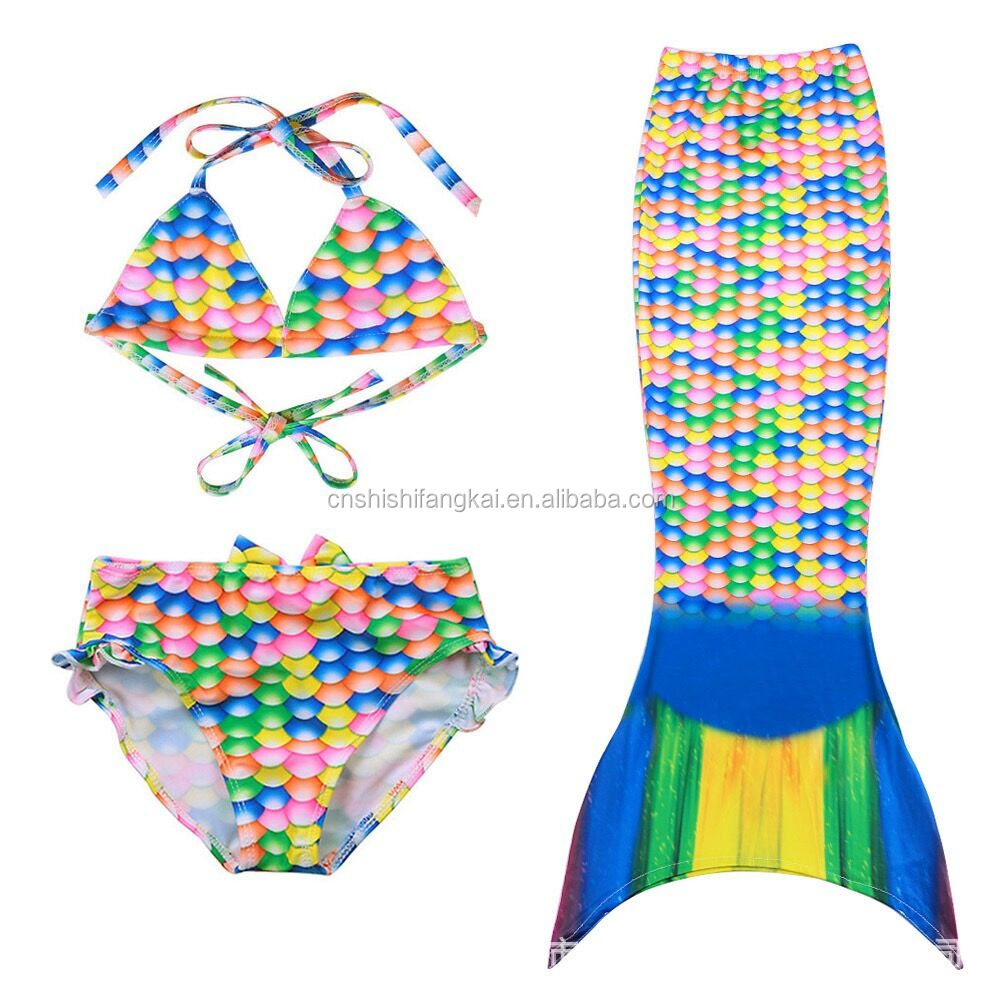 kids children mermaid swimwear swimsuit bikini bathing suit beach wear diving suit anti UV suit factory