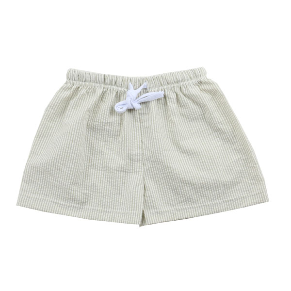 Wholesale 2016 100% cotton seersucker fabric tan color elastic tiecord seersucker boys shorts