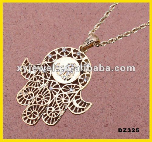 18k gold plated hand of fatima hamsa pendant turkey necklace Islamic jewelry