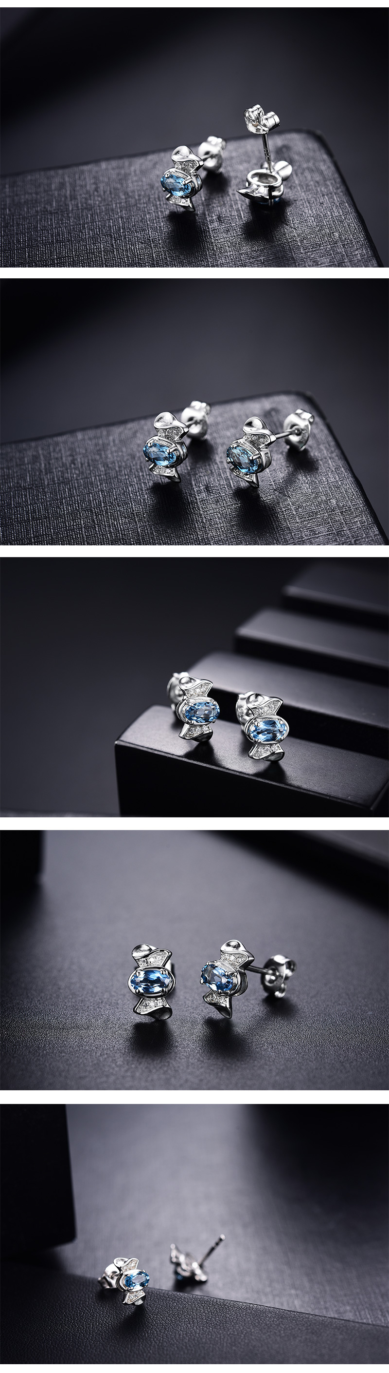 candy simple design 925 sterling silver jewelry with topaz stone rhodium plated ladies earrings