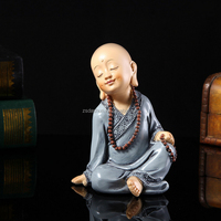Joyful polyresin little sitting monk craft