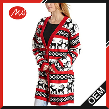 Ladies fashion cotton blend lighted christmas cardigan sweater