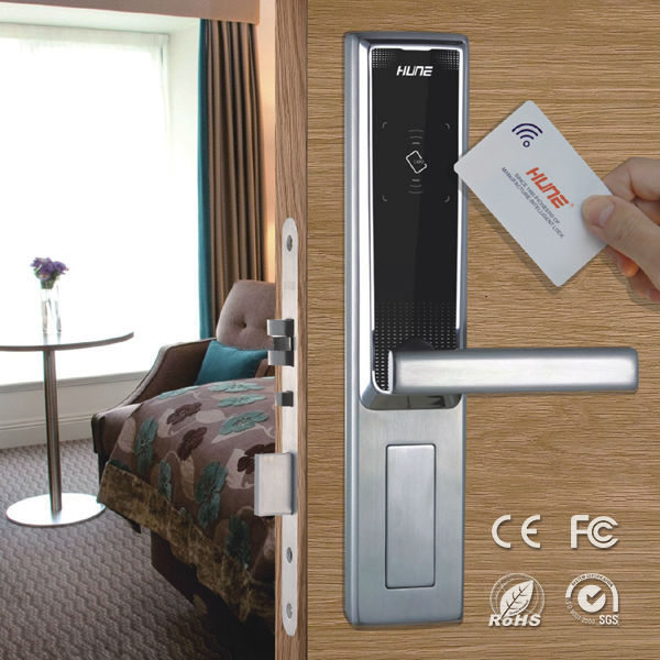 stainless steel keyless digital hotel room door locks with access control system
