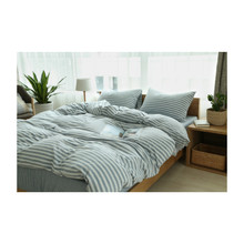 soft color melange fabric 100% cotton jersey stripe bedding <strong>set</strong>