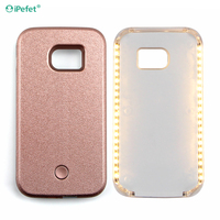 LED flash selfie light up cell phone cover with power bank for Samsung S6 case
