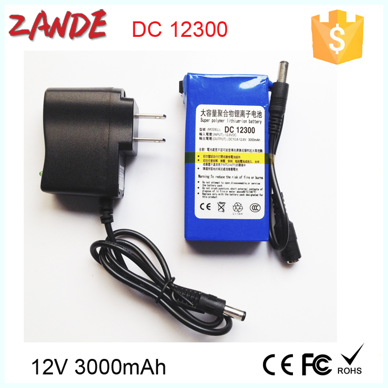 Factory Wholesales Super Mini DC-12300 3000mAh DC 12V Rechargeable lithium battery for CCTV , GPS , Lan router