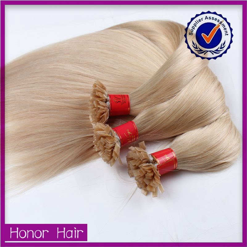 New products 2016 wholesale alibaba brazilian human hair prebonded hair extensions silky straight wave flat hair 100 strands