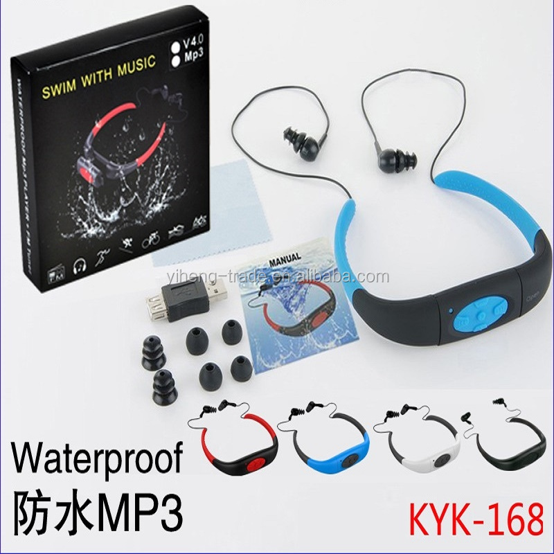 Waterproof MP3 Music Player IPX8 4GB Swimming Running Surf Underwater Sports Neckband Mp3 with FM Radio Earphone