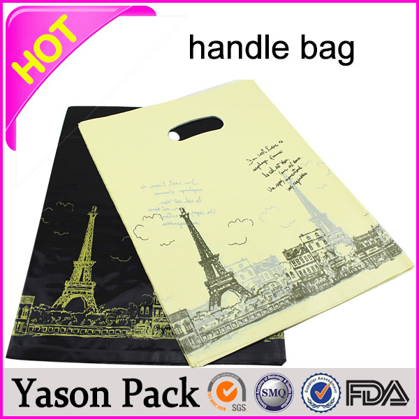 YASON shopping pouch handle bag fold over die cut bagplastic carrier bag with punch out handlecustomized die cut handle plastic