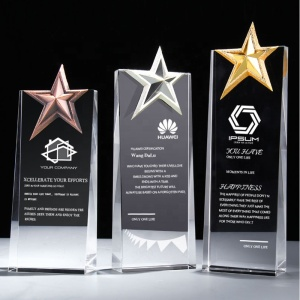 best quality golden star crystal glass trophy