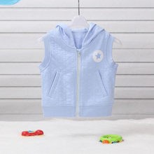 Children Boys Clothing,Hooded Vest,Waistcoat,Spring & Autumn Hoodies,Embroidery,Kids Clothes,100% Cotton Knitted,10339 Blue