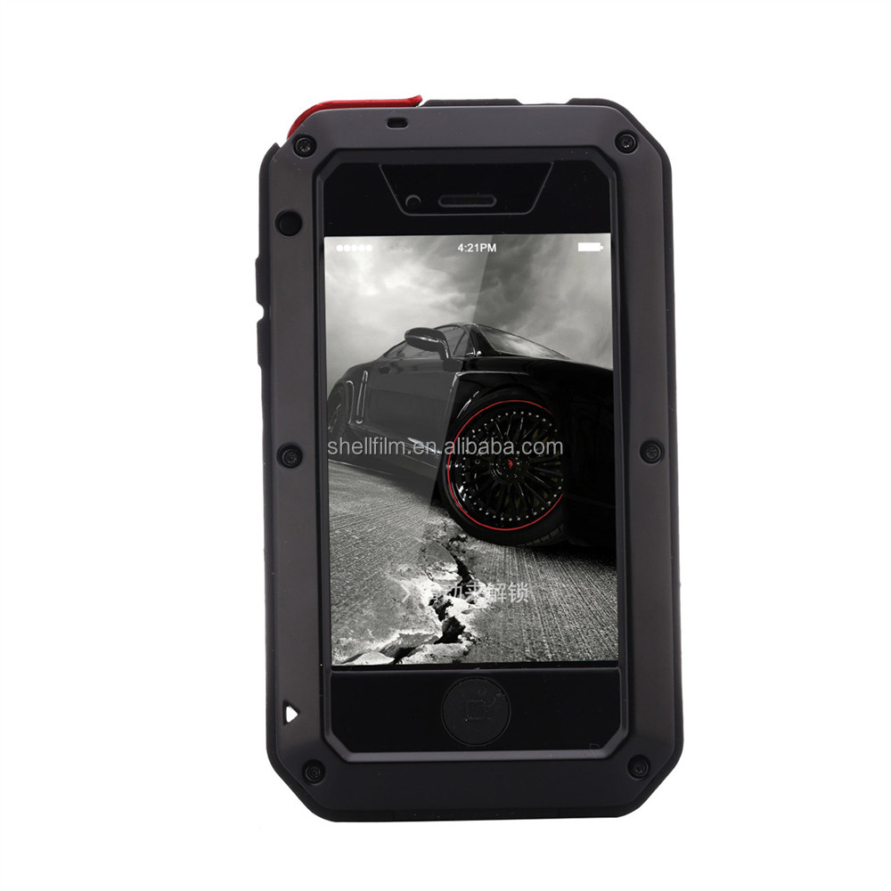 Tellin shockproof waterproof aluminum gorilla glass metal case for iphone 4/4s