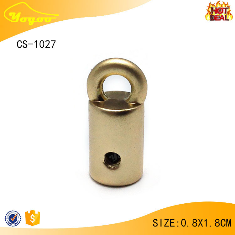 Newest eco-friendly die casting customised matt gold rope cord end stopper