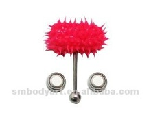Red silicon vibrating barbell with two batteries body piercing