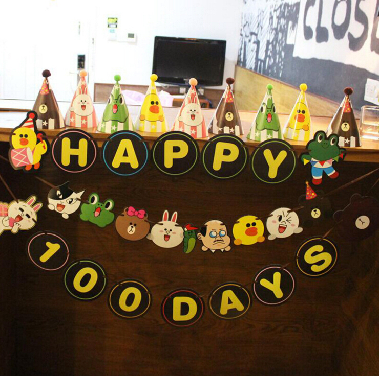 <strong>100</strong> Days Brown bear Happy Birthday hands in hands Party Decoration Flags STOCK