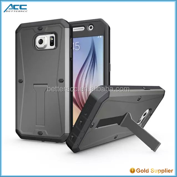 Slim Armor Shockproof Hybrid Hard Plastic Kickstand Case For Samsung Galaxy S6
