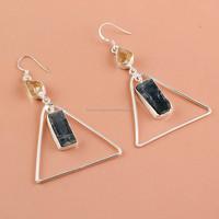 Silver Earrings, Natural Gemstone Citrine, Kyanite Silver Jewelry, Jewellery