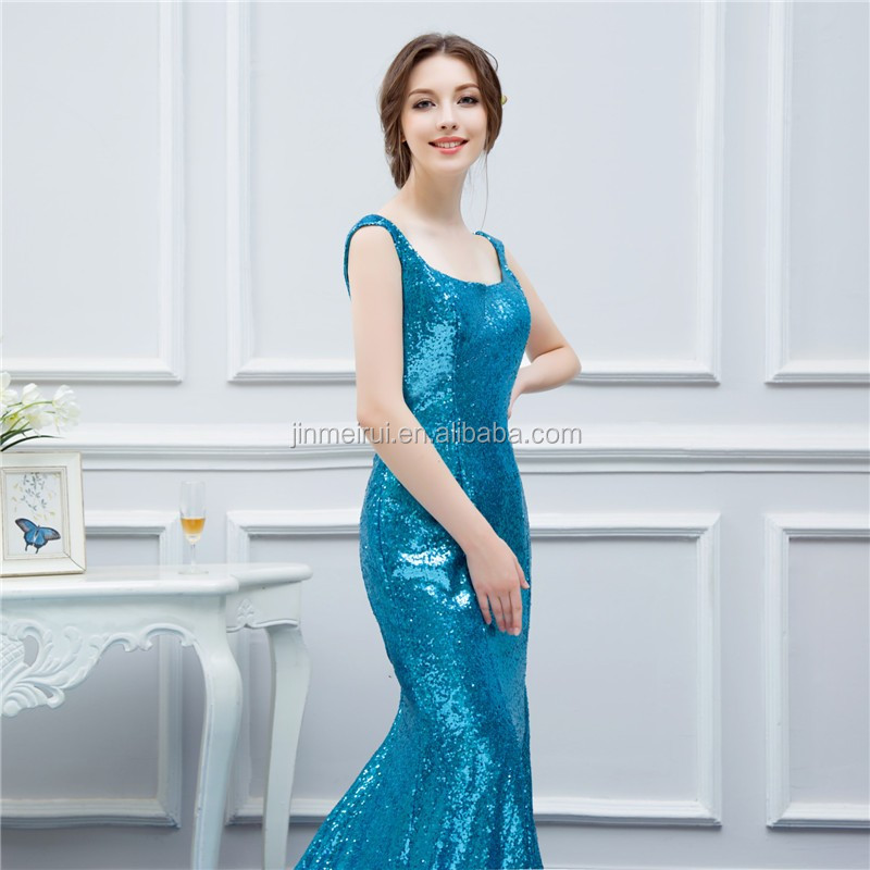 Mermaid Evening Dresses Sequin Spaghetti Straps Green V back Navy Blue Evening Prom Gown Real Sample